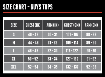 Size Chart - Guys Tops